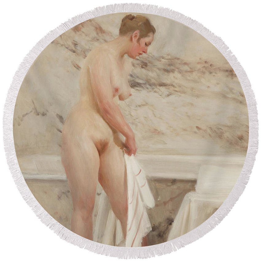 Anders Zorn Round Beach Towel featuring the painting By The Bath Tub by Anders Zorn