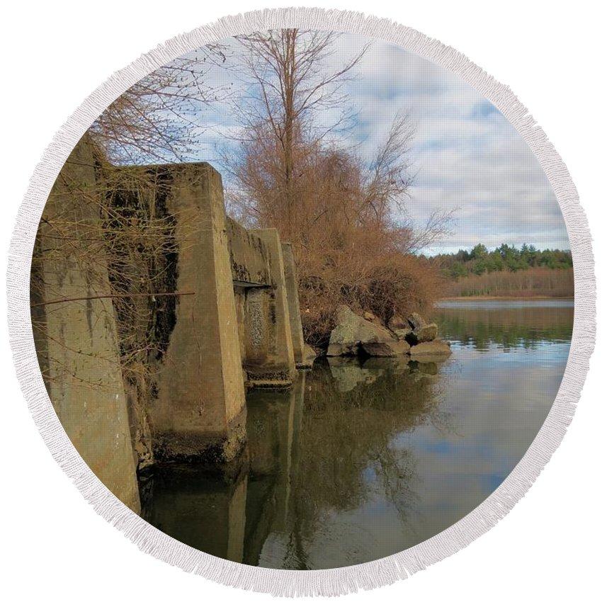 Bridge Round Beach Towel featuring the photograph By The Bridge by MTBobbins Photography
