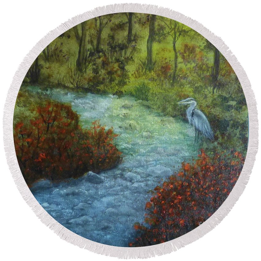 By The Brook Round Beach Towel featuring the painting By The Brook by Alicia Fowler