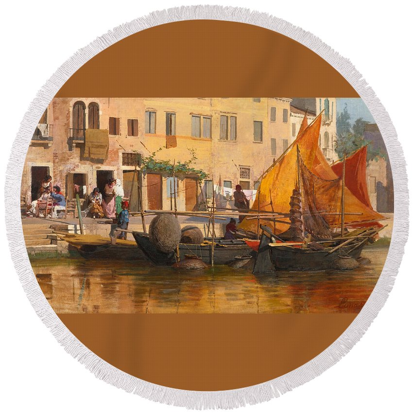 Egisto Lancerotto Round Beach Towel featuring the painting By The Canal by Egisto Lancerotto