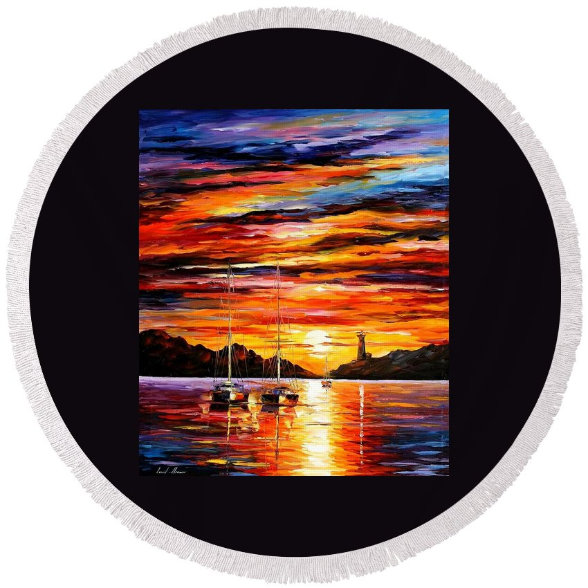 Afremov Round Beach Towel featuring the painting By The Entrance To The Harbor by Leonid Afremov