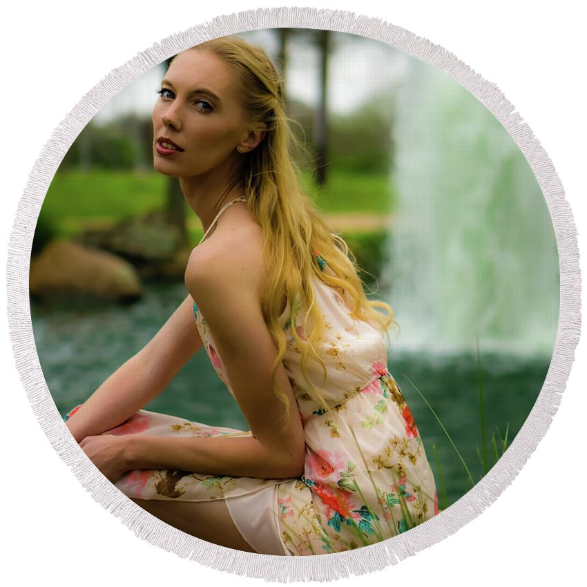 Female Round Beach Towel featuring the photograph By The Fountain by JB Thomas