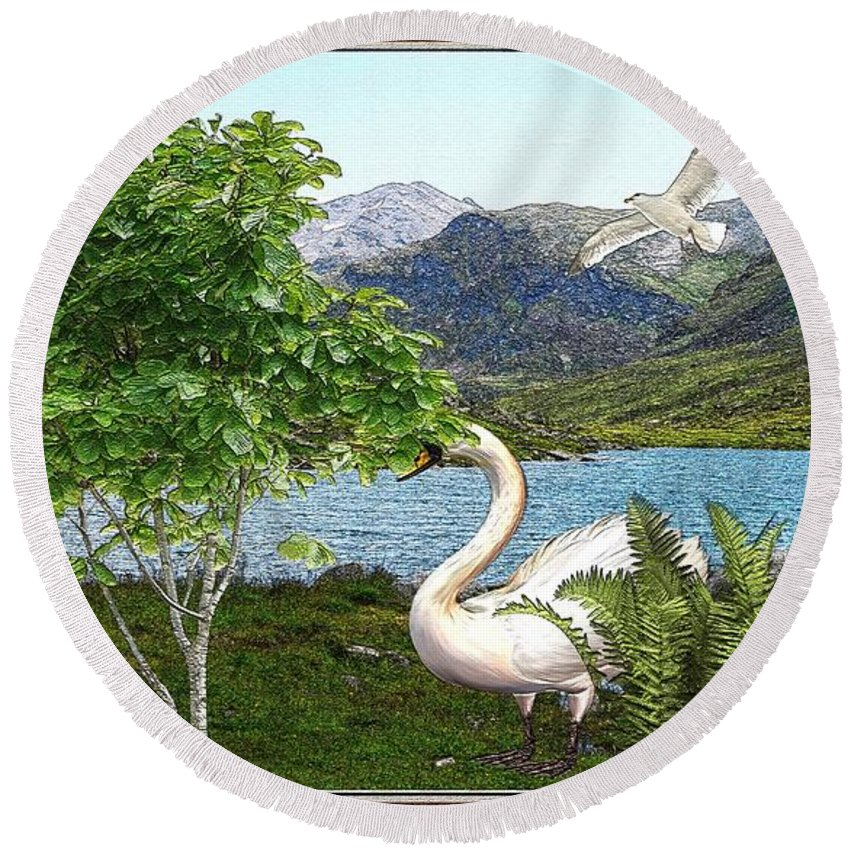 Modern Painting Round Beach Towel featuring the mixed media By The Lake 5 by Pemaro