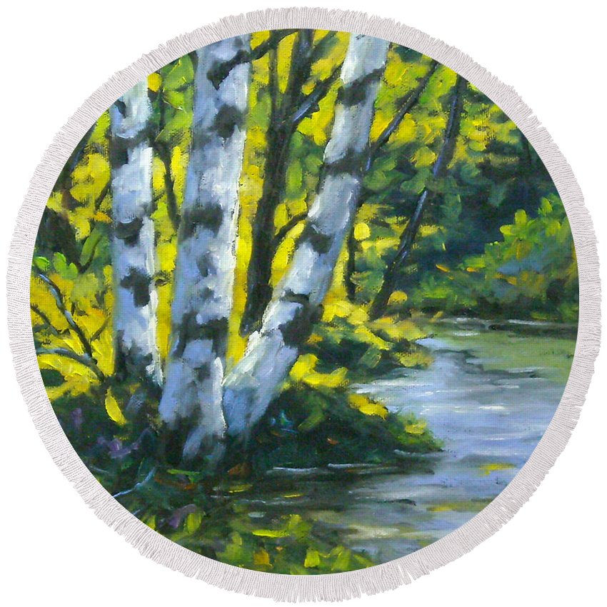 Art Round Beach Towel featuring the painting By The River by Richard T Pranke