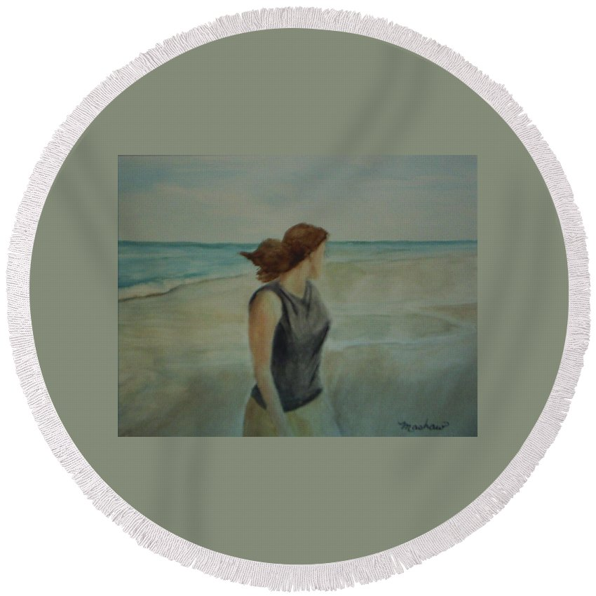 Ocean Round Beach Towel featuring the painting By The Sea by Sheila Mashaw