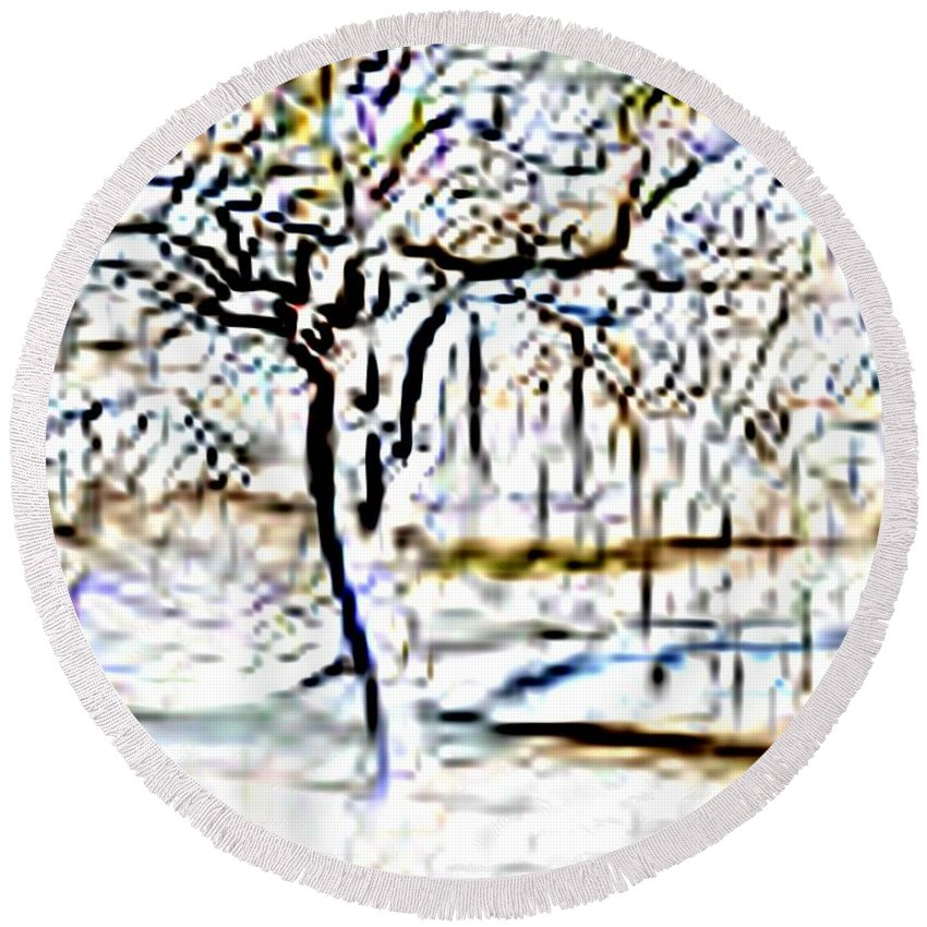 Tree Round Beach Towel featuring the photograph By Waters Edge by Tim Allen