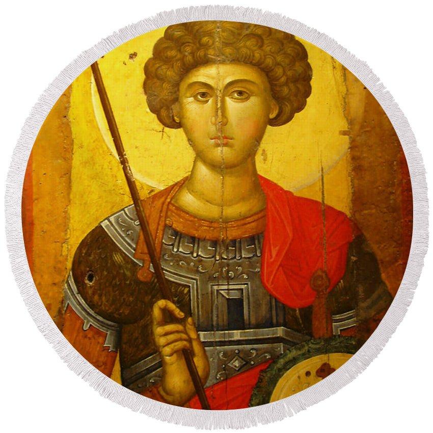 Byzantine Knight Round Beach Towel featuring the photograph Byzantine Knight by Ellen Henneke