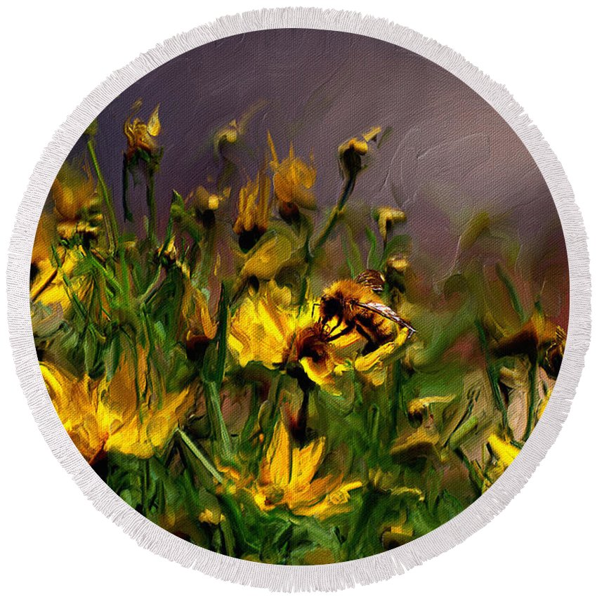 Floral Round Beach Towel featuring the digital art Bzzzzz by Lois Bryan