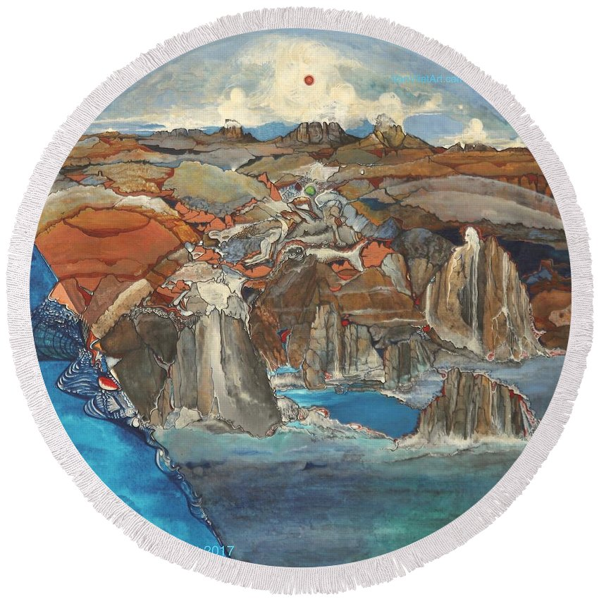 Fantasy Landscape Round Beach Towel featuring the painting C You At Du by Richard Van Vliet