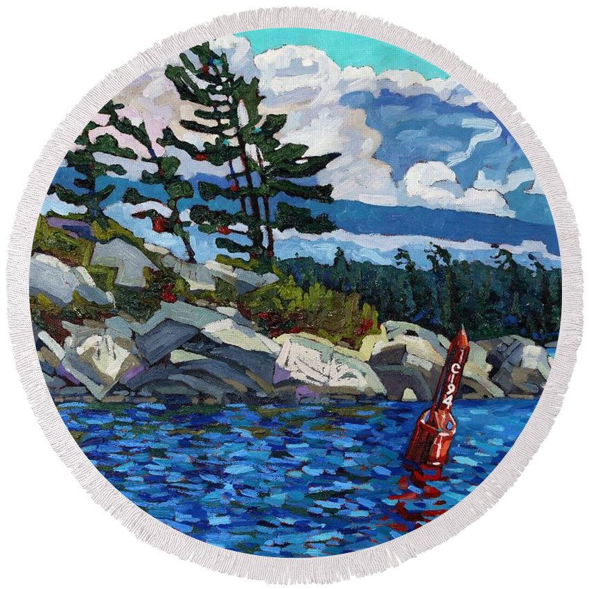 Parry Sound Round Beach Towel featuring the painting C194 by Phil Chadwick