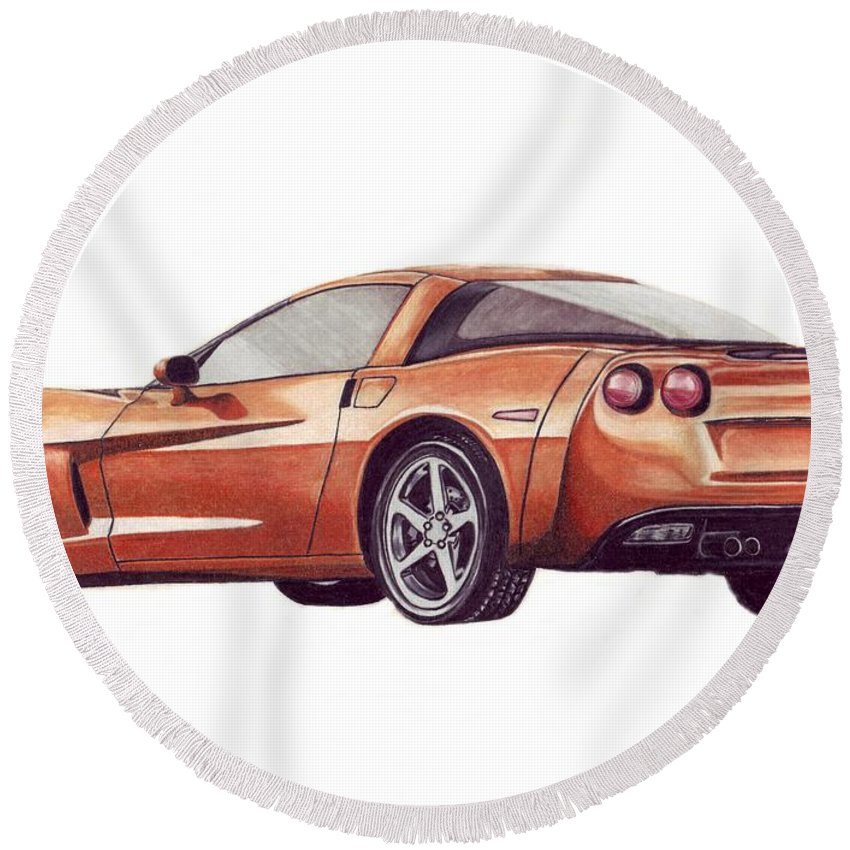 Corvette Round Beach Towel featuring the drawing C6 by Kristen Wesch