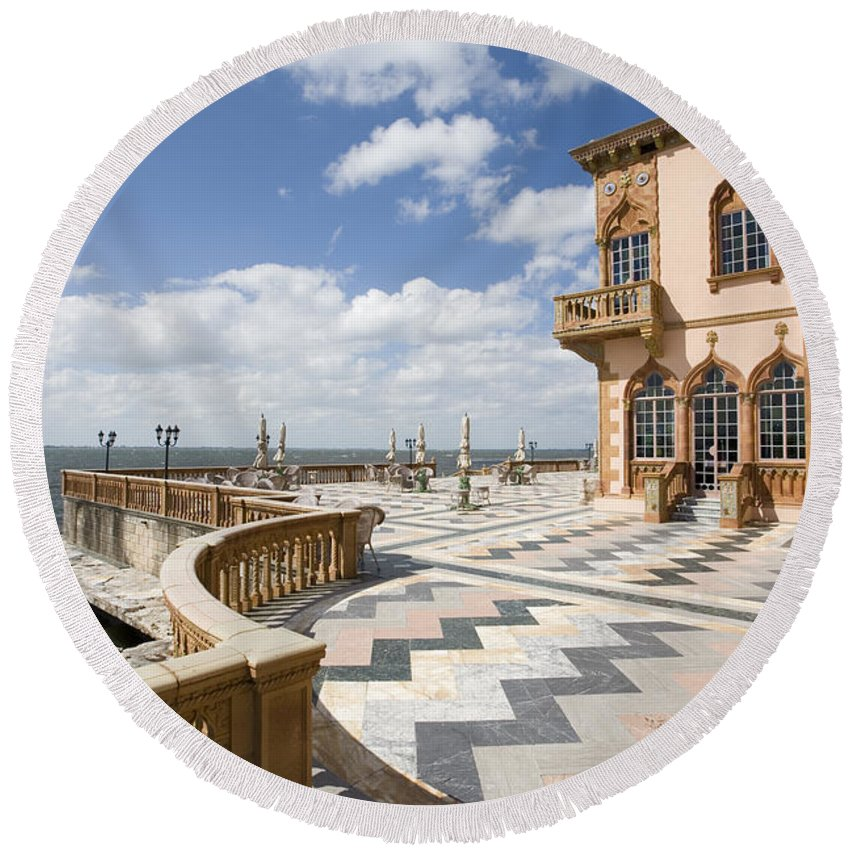 Ringling Round Beach Towel featuring the photograph Ca D'zan Mansion Sarasota by Mal Bray