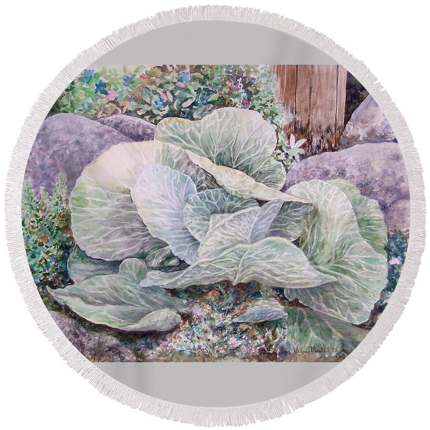 Leaves Round Beach Towel featuring the painting Cabbage Head by Valerie Meotti