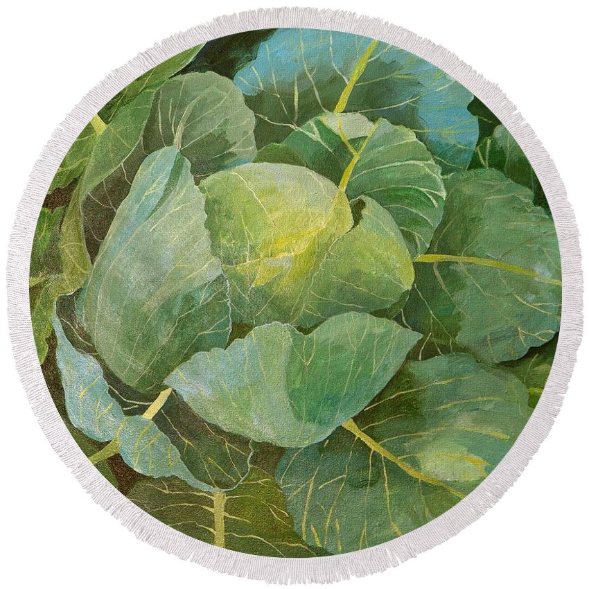 Cabbage Round Beach Towel featuring the painting Cabbage by Jennifer Abbot