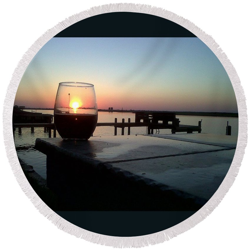 Sunset Wine Cabernet Ocean Dock Round Beach Towel featuring the photograph Cabernet Sunset by Cindy New