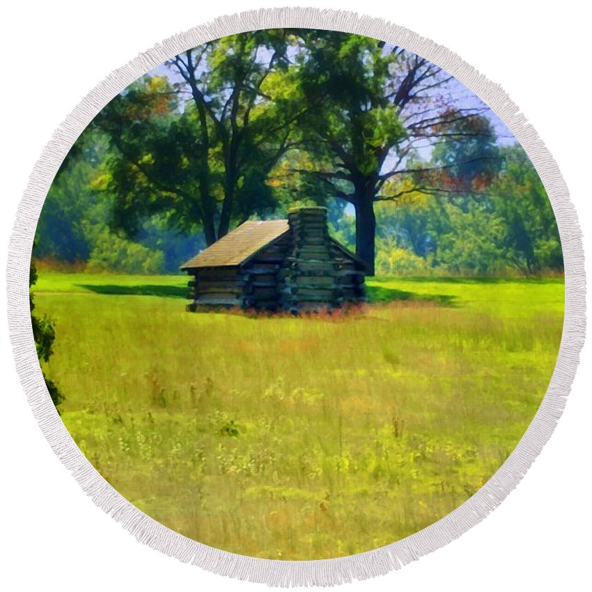 Cabin Round Beach Towel featuring the photograph Cabin At Valley Forge by Bill Cannon