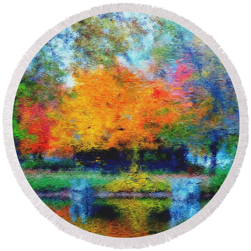 Nature Round Beach Towel featuring the photograph Cabin In Park by David Lane