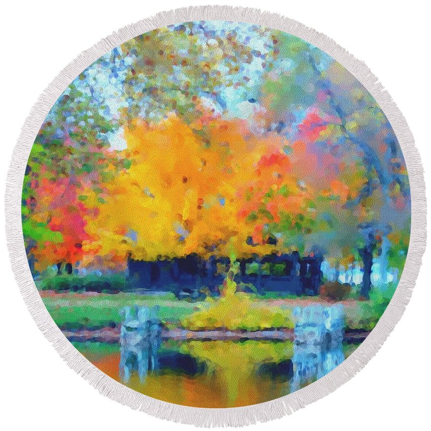 Digital Photograph Round Beach Towel featuring the photograph Cabin In The Park II by David Lane