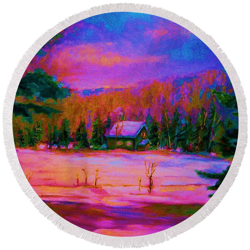 Winterscenes Round Beach Towel featuring the painting Cabin In The Woods by Carole Spandau