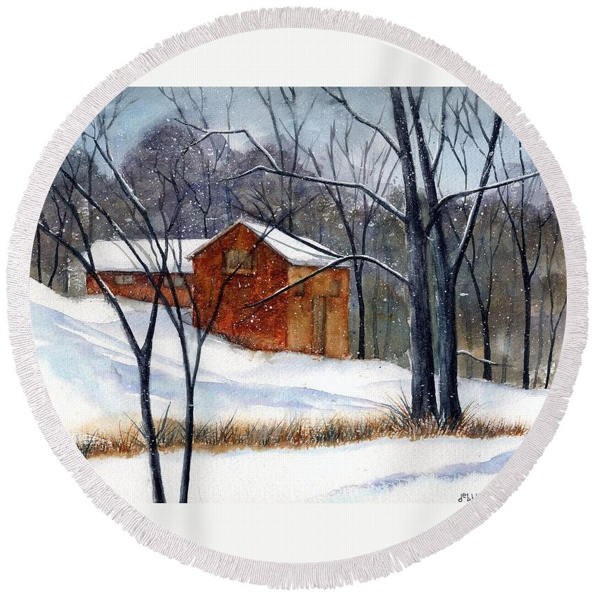 Cabin Round Beach Towel featuring the painting Cabin In The Woods by Debbie Lewis