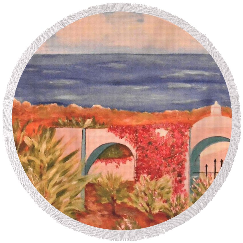 Cabo San Lucas Round Beach Towel featuring the painting Cabo Garden by Laurie Morgan