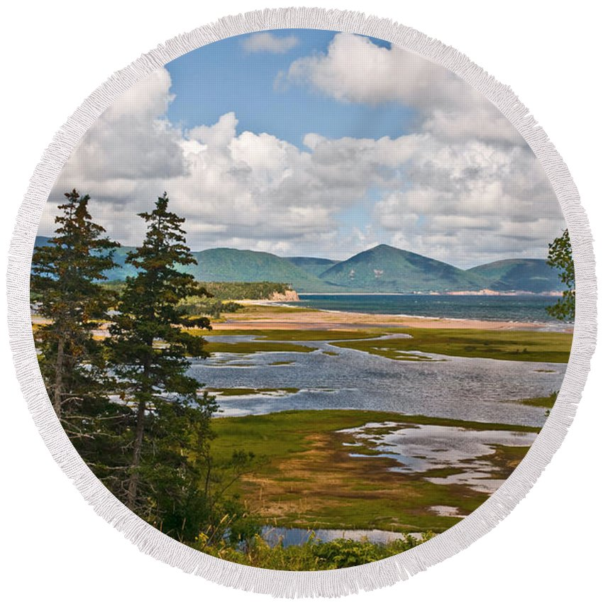 Cabot Trail Nova Scotia Round Beach Towel featuring the photograph Cabot Trail In Nova Scotia by Ginger Wakem