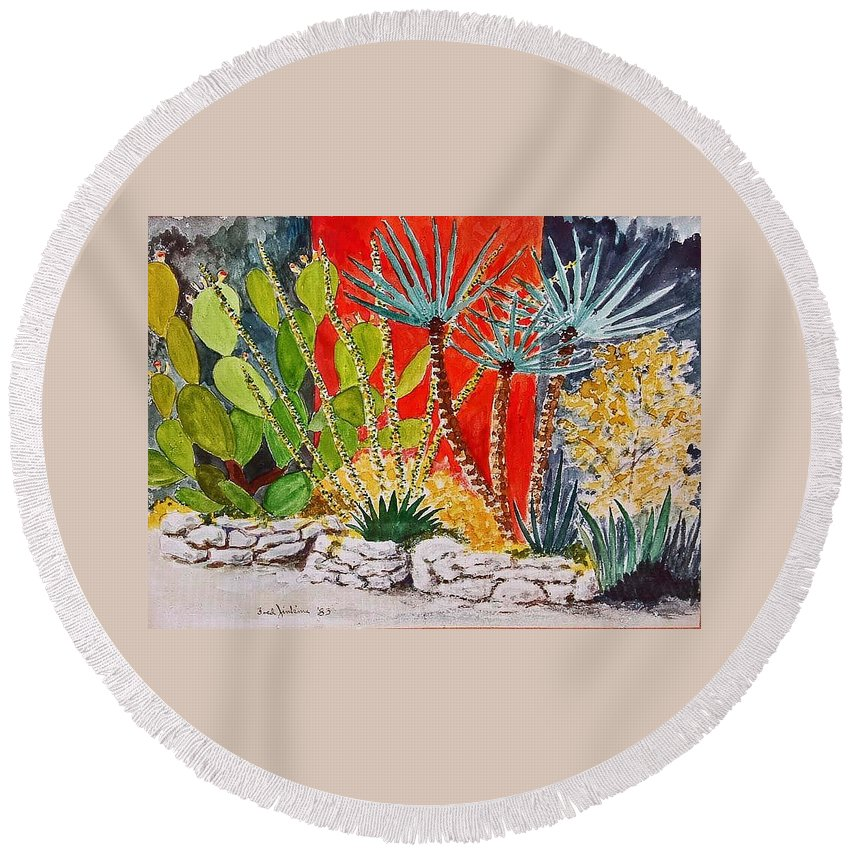 Cactus Round Beach Towel featuring the painting Cactus Garden by Fred Jinkins