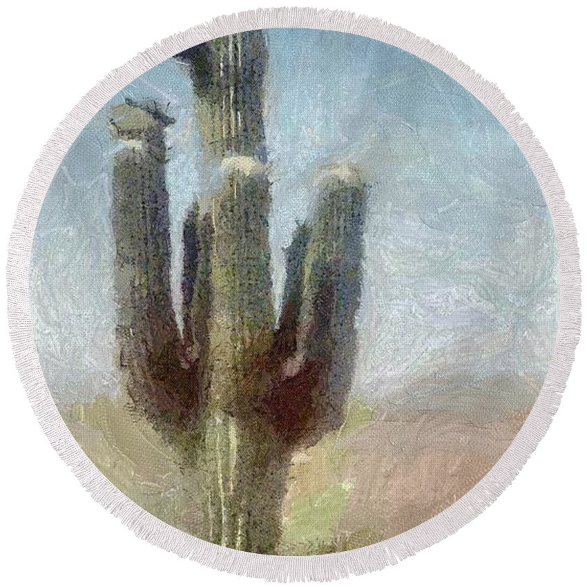 Phoenix Round Beach Towel featuring the painting Cactus by Jeffrey Kolker