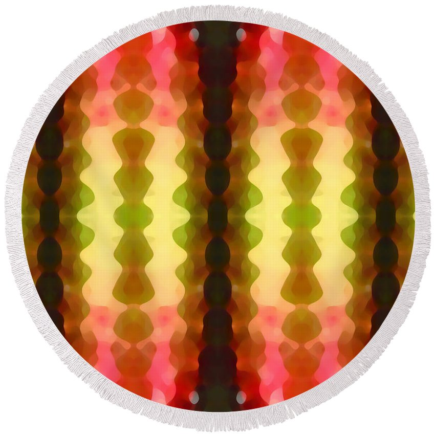 Abstract Painting Round Beach Towel featuring the digital art Cactus Vibrations 1 by Amy Vangsgard
