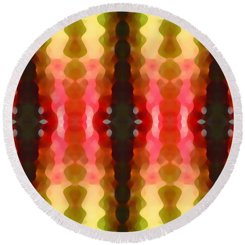 Abstract Round Beach Towel featuring the painting Cactus Vibrations 2 by Amy Vangsgard