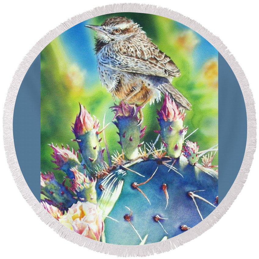 Wren Round Beach Towel featuring the painting Cactus Wren by Greg and Linda Halom