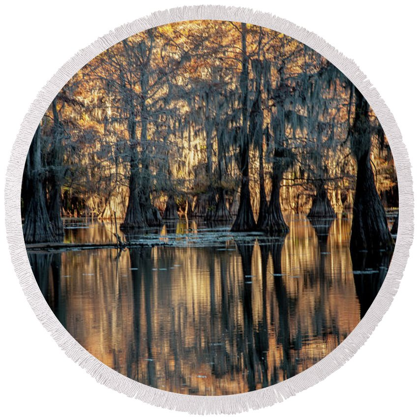 Caddo Lake Round Beach Towel featuring the photograph Caddo Lake Sunrise by Iris Greenwell