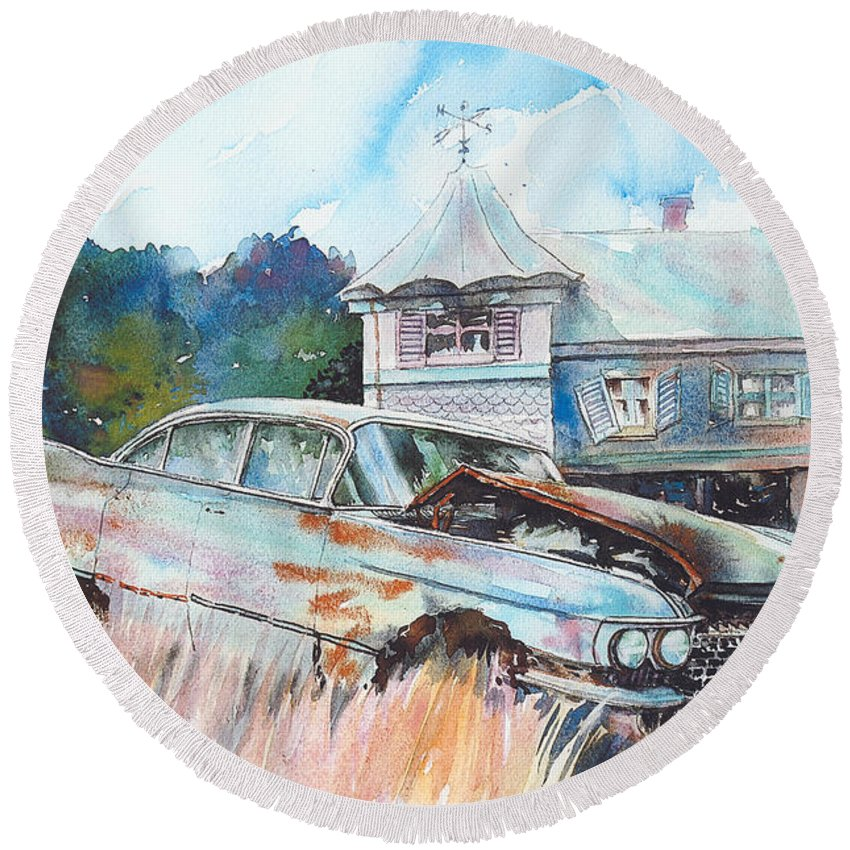 Cadillac Round Beach Towel featuring the painting Caddy Sliding Down the Slope by Ron Morrison