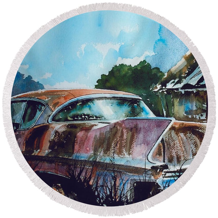 Caddy Round Beach Towel featuring the painting Caddy Subsiding by Ron Morrison