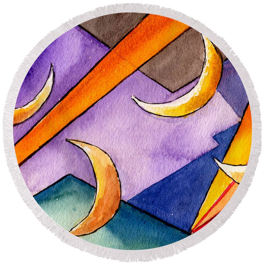 Watercolor Abstract Orange Purple Grey Moon Moons Design Fantasy Surreal Round Beach Towel featuring the painting Cadence by Brenda Owen