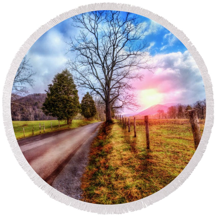 Appalachia Round Beach Towel featuring the photograph Cades Country Lane by Debra and Dave Vanderlaan
