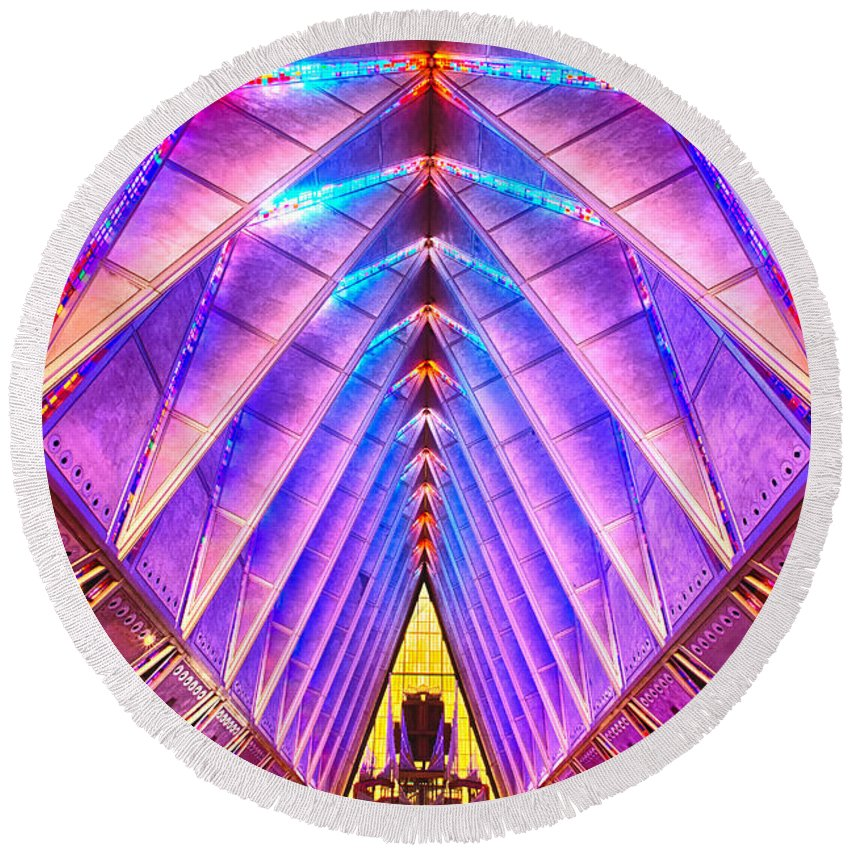 Us Air Force Round Beach Towel featuring the photograph Cadet Chapel by Jerry Fornarotto