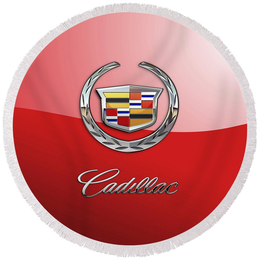 �wheels Of Fortune� Collection By Serge Averbukh Round Beach Towel featuring the photograph Cadillac - 3 D Badge on Red by Serge Averbukh