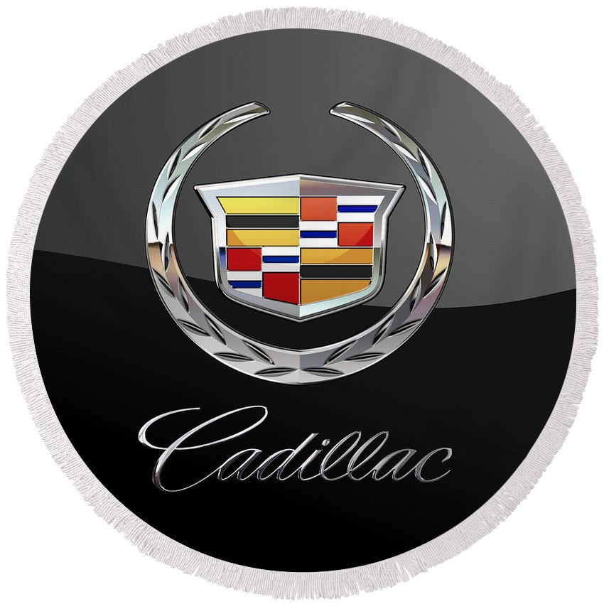 'wheels Of Fortune' By Serge Averbukh Round Beach Towel featuring the photograph Cadillac - 3 D Badge On Black by Serge Averbukh