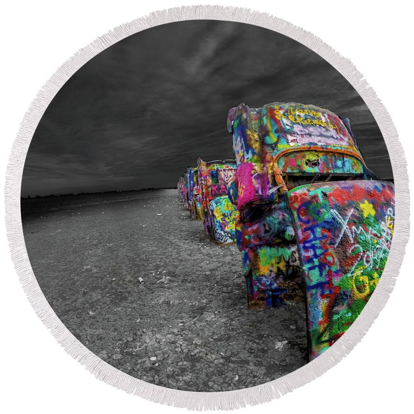 Cadillac Ranch Round Beach Towel featuring the photograph Cadillac Ranch by Scott Enlow