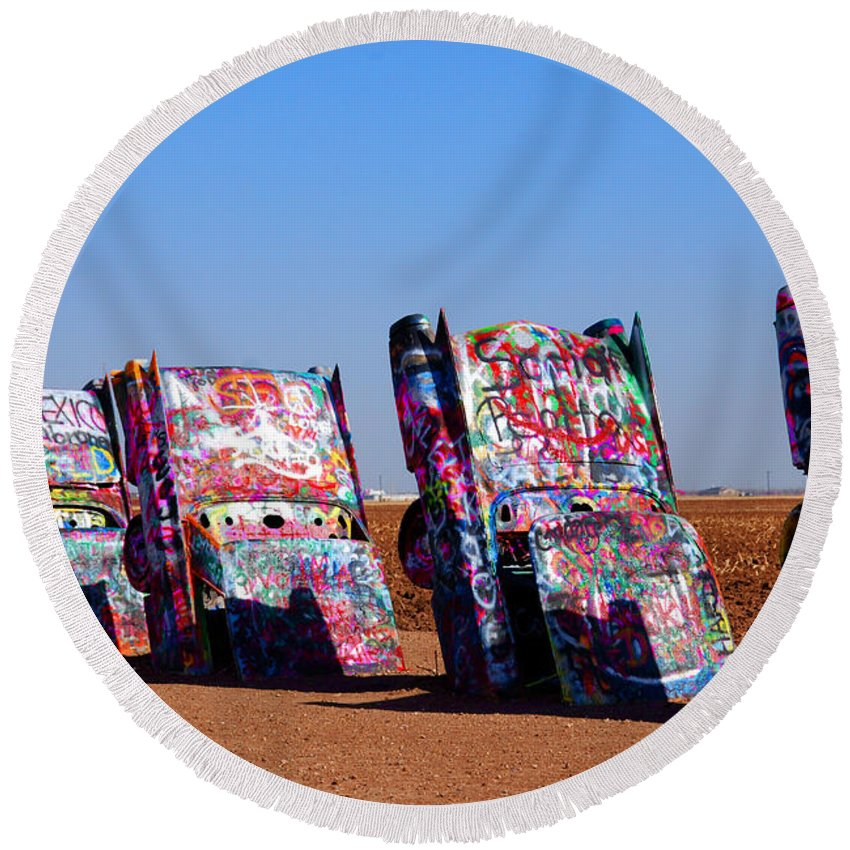 Photography Round Beach Towel featuring the photograph Cadillac Ranch by Susanne Van Hulst