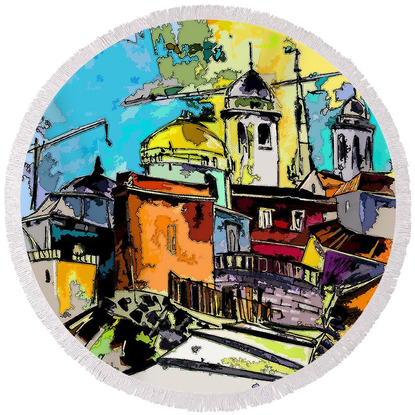 Spain Painting Cadiz Andalusia Round Beach Towel featuring the painting Cadiz Spain 02 Bis by Miki De Goodaboom