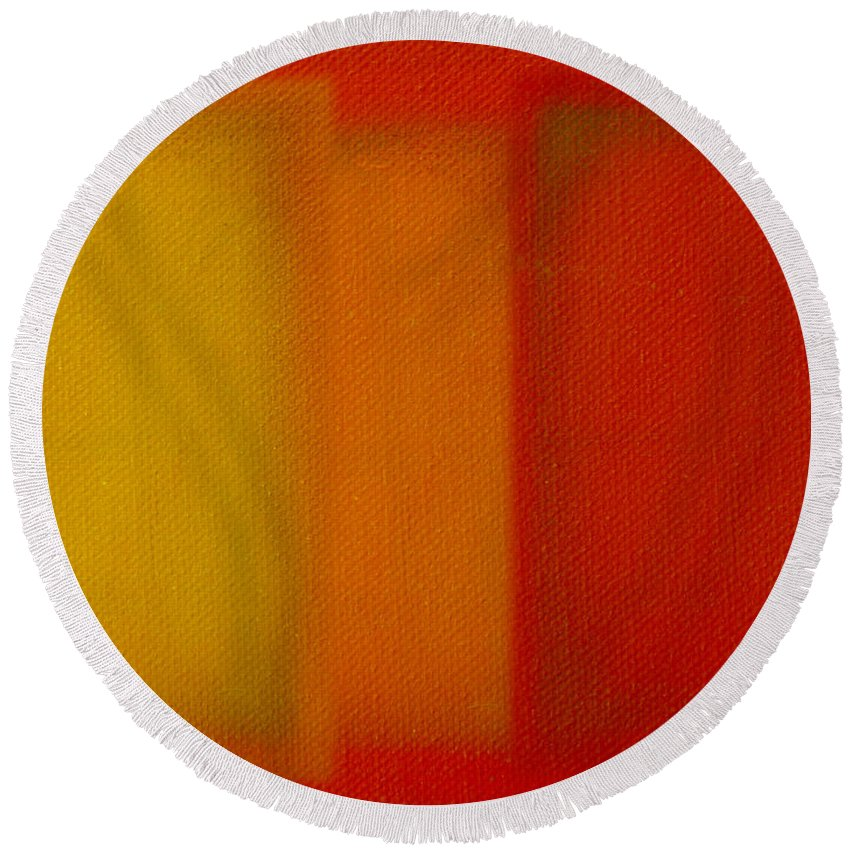 Rothko Round Beach Towel featuring the painting Cadmium Lemon by Charles Stuart