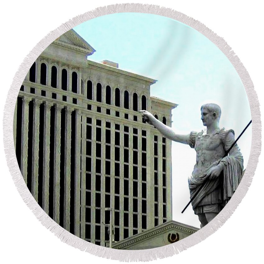 Caesars Palace Round Beach Towel featuring the photograph Caesars Palace by Will Borden