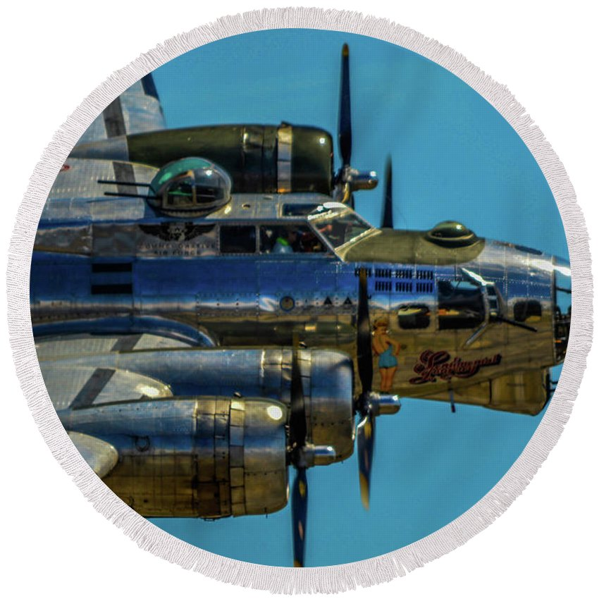 2014 Round Beach Towel featuring the photograph Caf Sentimental Journey by Tommy Anderson