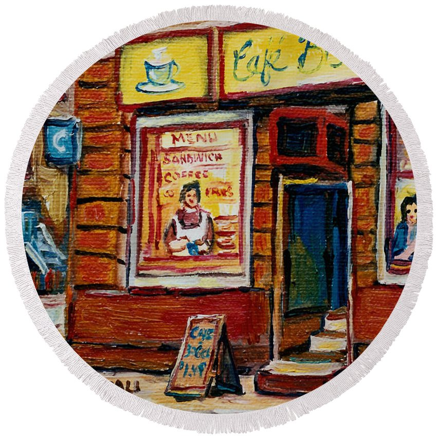 Cafe Bistro St.viateur Round Beach Towel featuring the painting Cafe Bistro St. Viateur by Carole Spandau