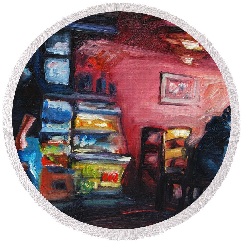 Cafe Round Beach Towel featuring the painting Cafe Boulange by Rick Nederlof