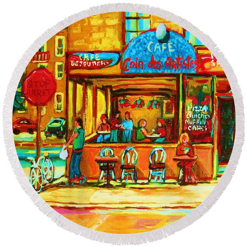 Cafes Round Beach Towel featuring the painting Cafe Coin Des Artistes by Carole Spandau