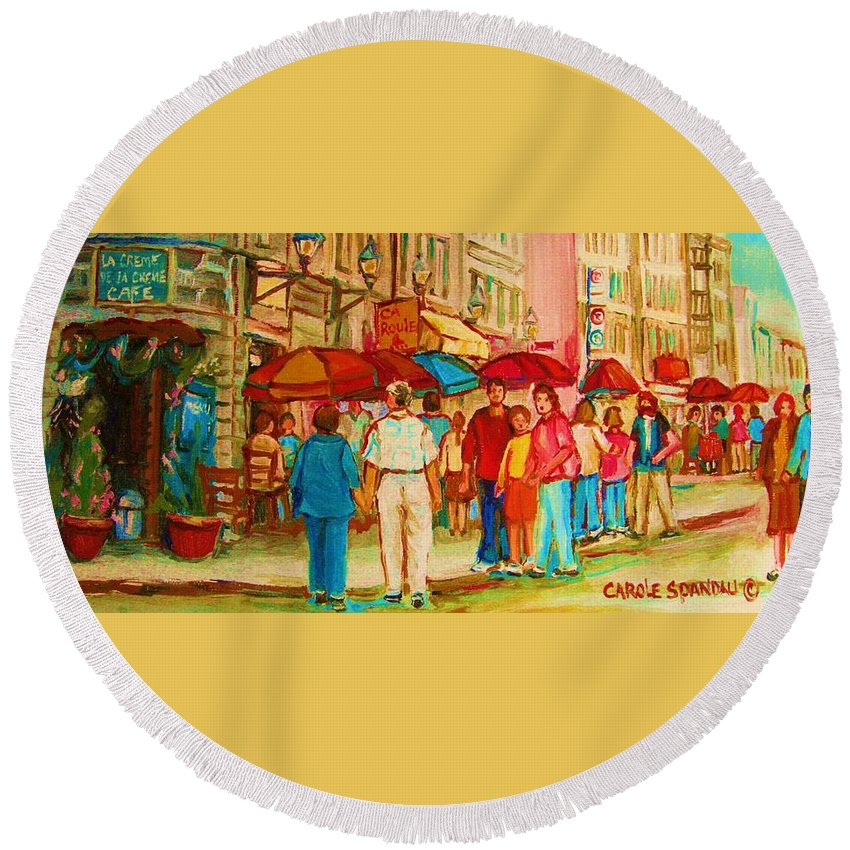Cafe Scenes Round Beach Towel featuring the painting Cafe Crowds by Carole Spandau