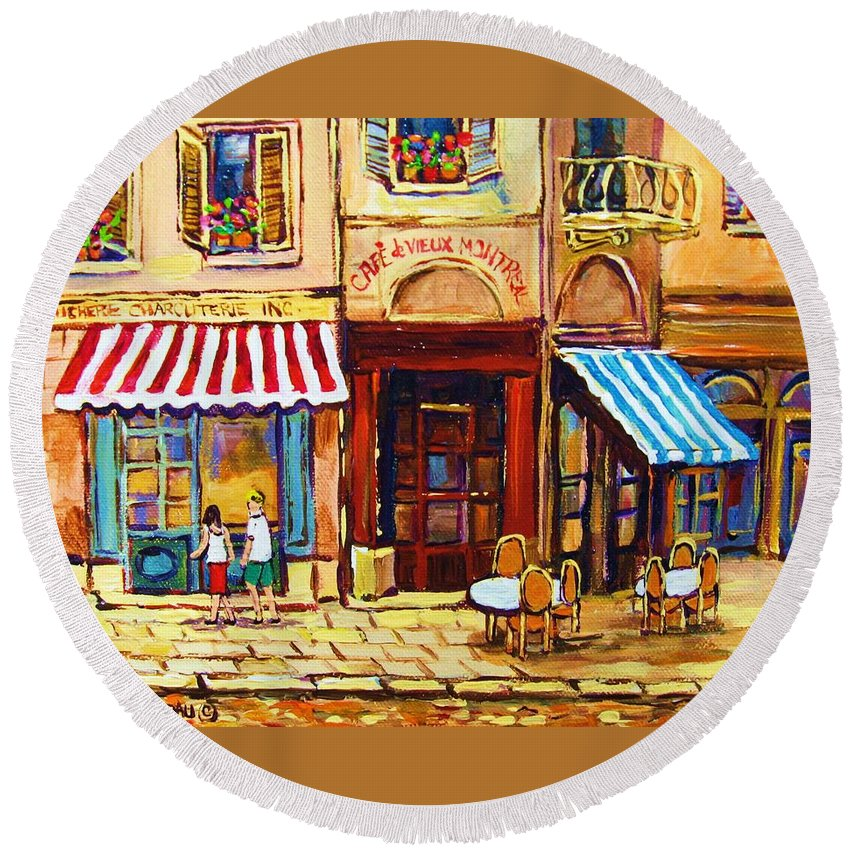 Old Montreal Outdoor Cafe City Scenes Round Beach Towel featuring the painting Cafe De Vieux Montreal With Couple by Carole Spandau